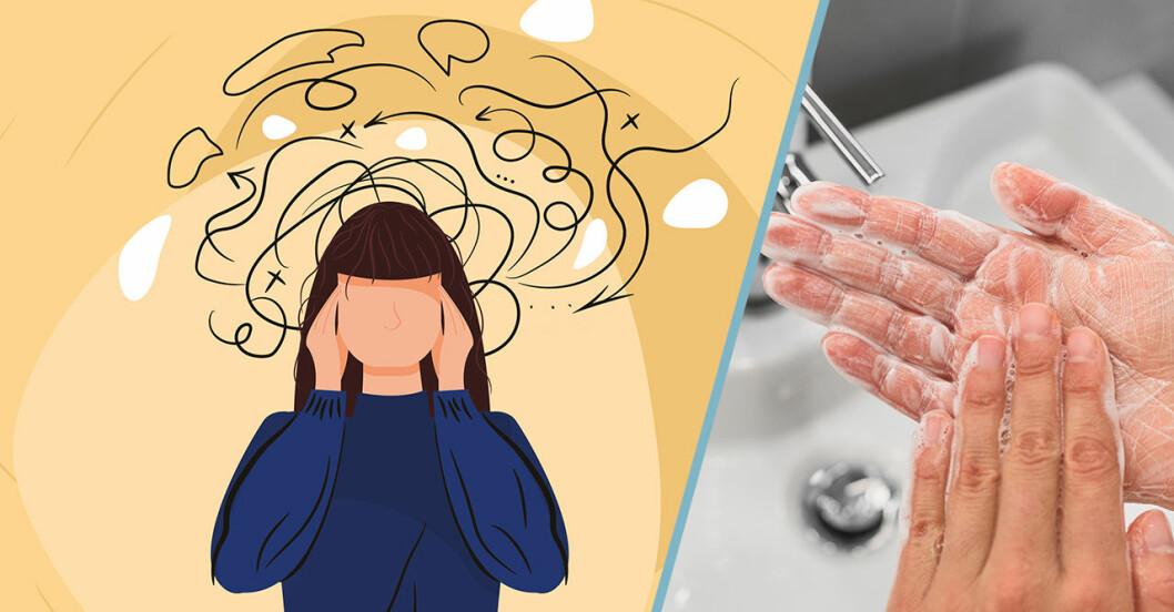Till vänster: Illustration av en tjej med ångest. Till höger: Någon som tvättar händerna.