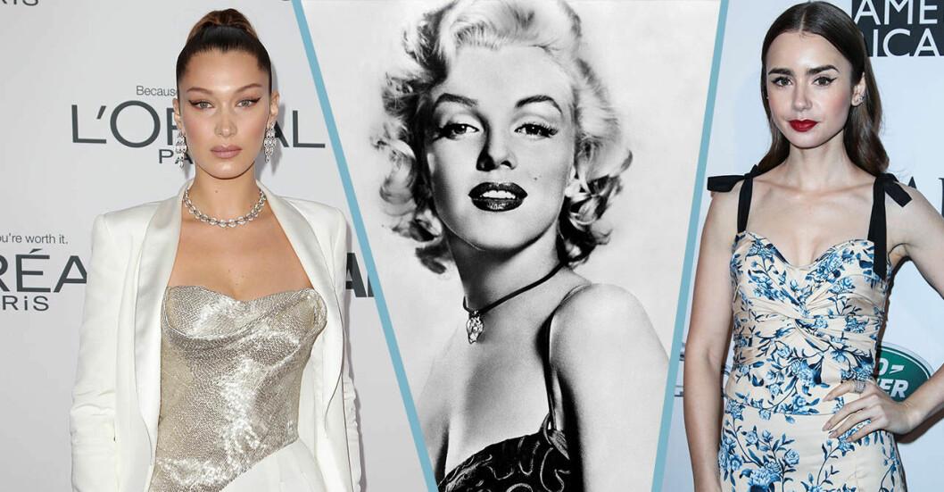 Bella Hadid, Marilyn Monroe och Lily Collins.