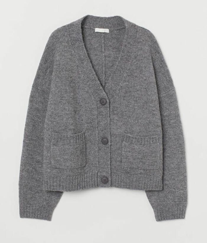 Stickad grå kofta från H&M
