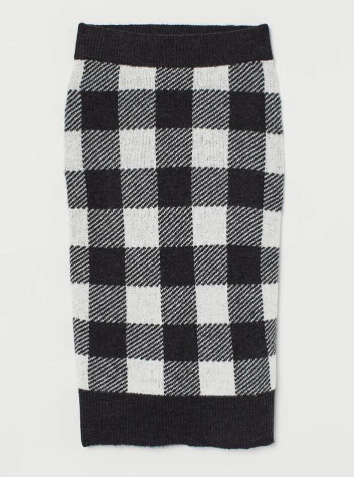 Stickad kjol i rutigt mönster från H&M