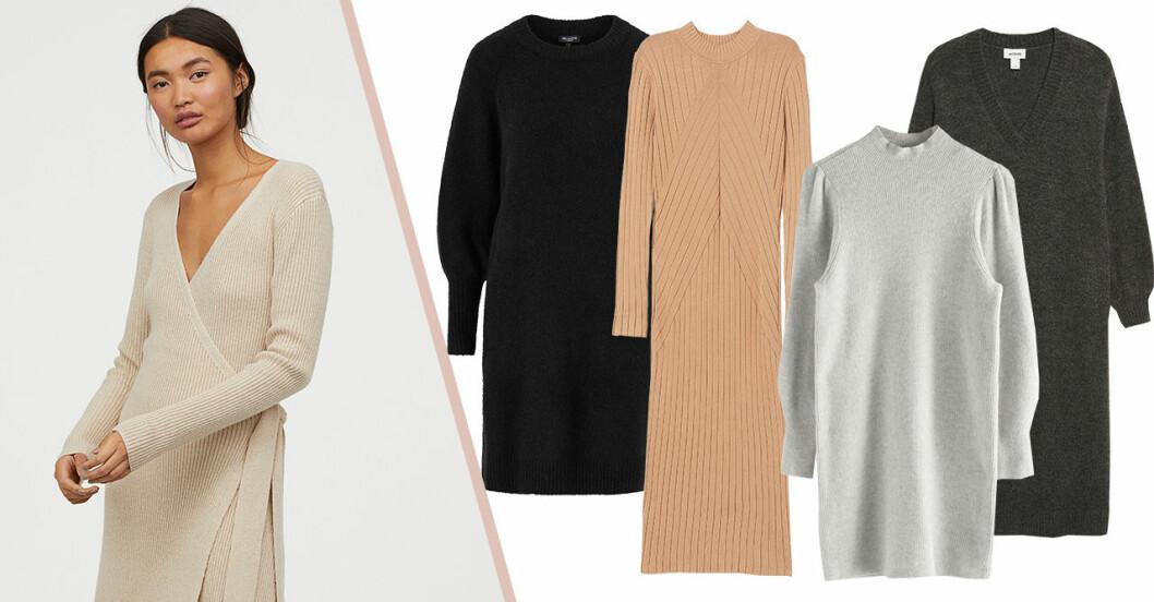 Stickade klänningar för dam till hösten 2019