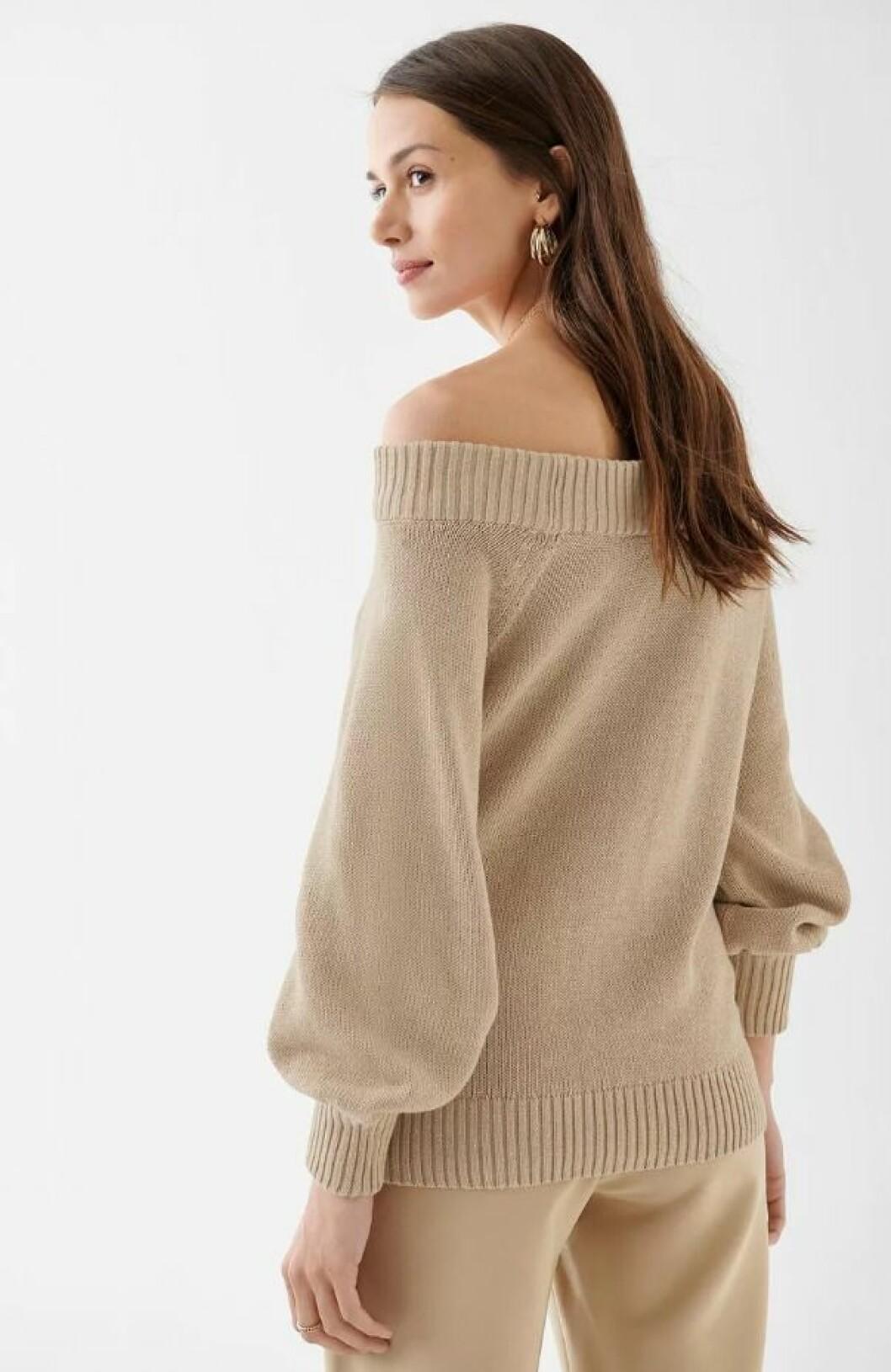 Stickad off shoulder-tröja för dam till 2019