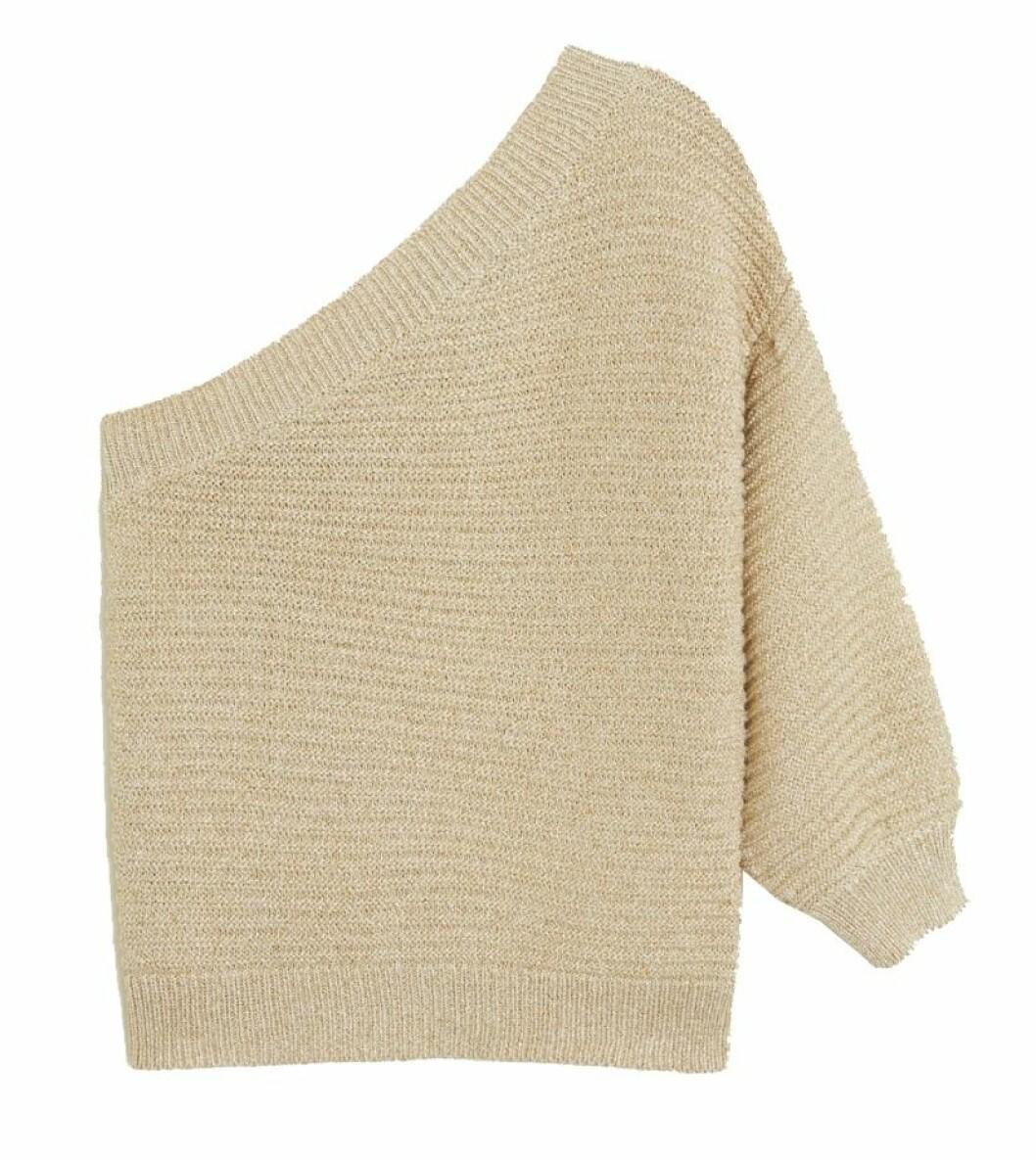 Stickad tröja med glittrig tråd för dam