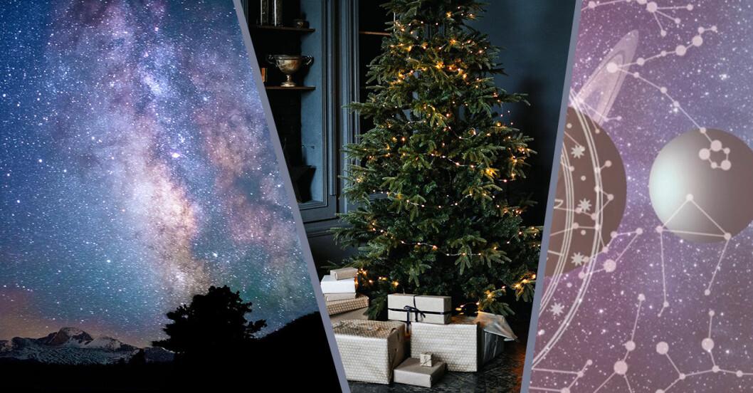 stjärnhimmel och julgran med klappar