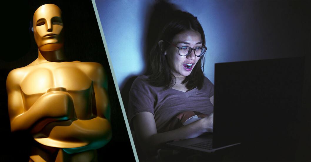 Ung kvinna tittar på oscarsgalan genom streaming på datorn.