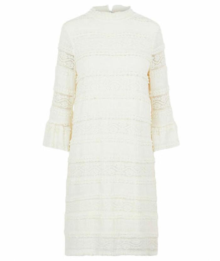 Medellång vit studentklänning spets