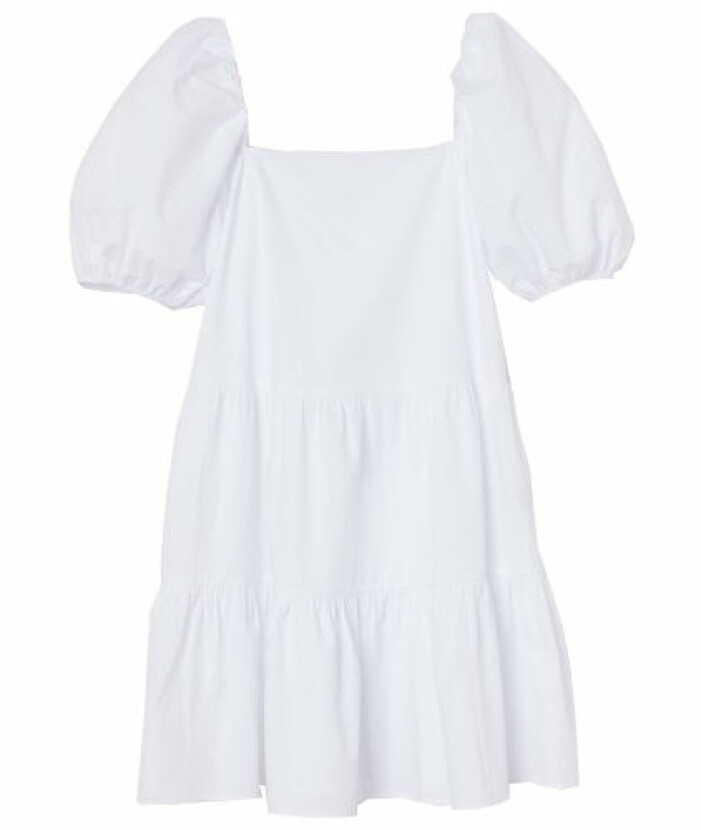 Vit klänning med puffärmar från H&M student 2021