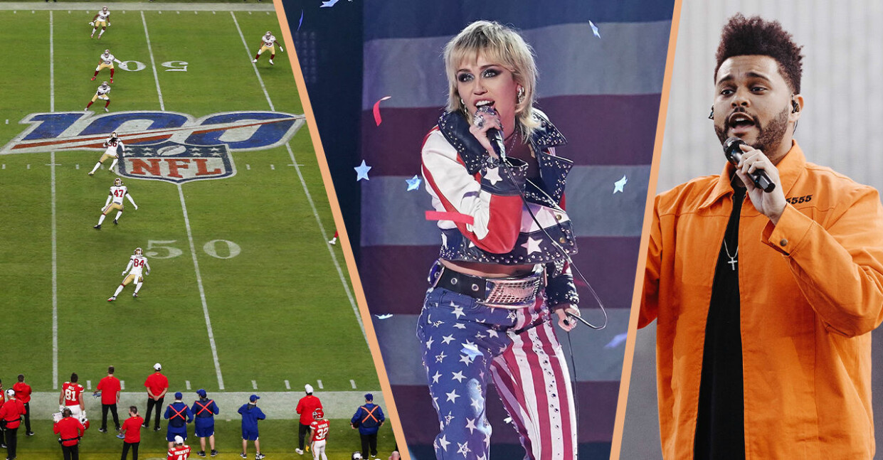 super bowl 2021 - ett kollage med en fotbollsplan, miley cyrus och the weeknd