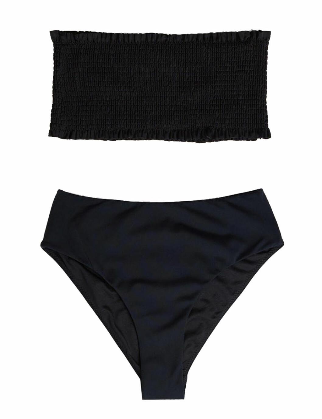 Svart bikini med smock och hög midja för dam till 2020