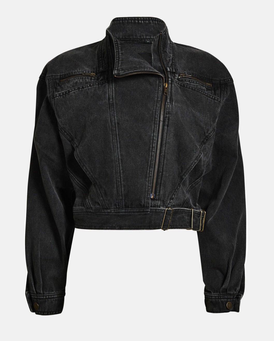 Svart jeansjacka i croppad modell för dam till 2019