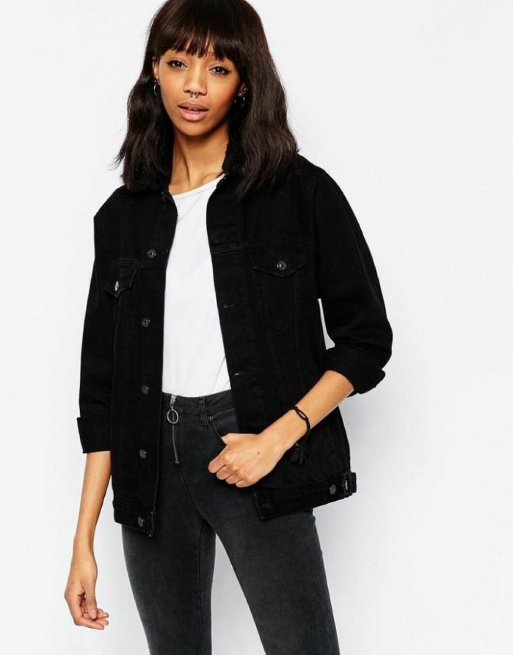 svart jeansjacka topshop