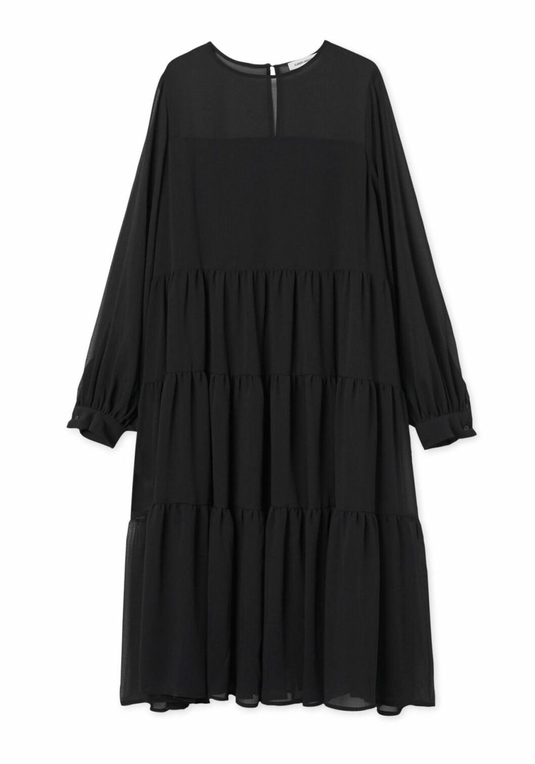 Svart festklänning med lång ärm för dam till 2019
