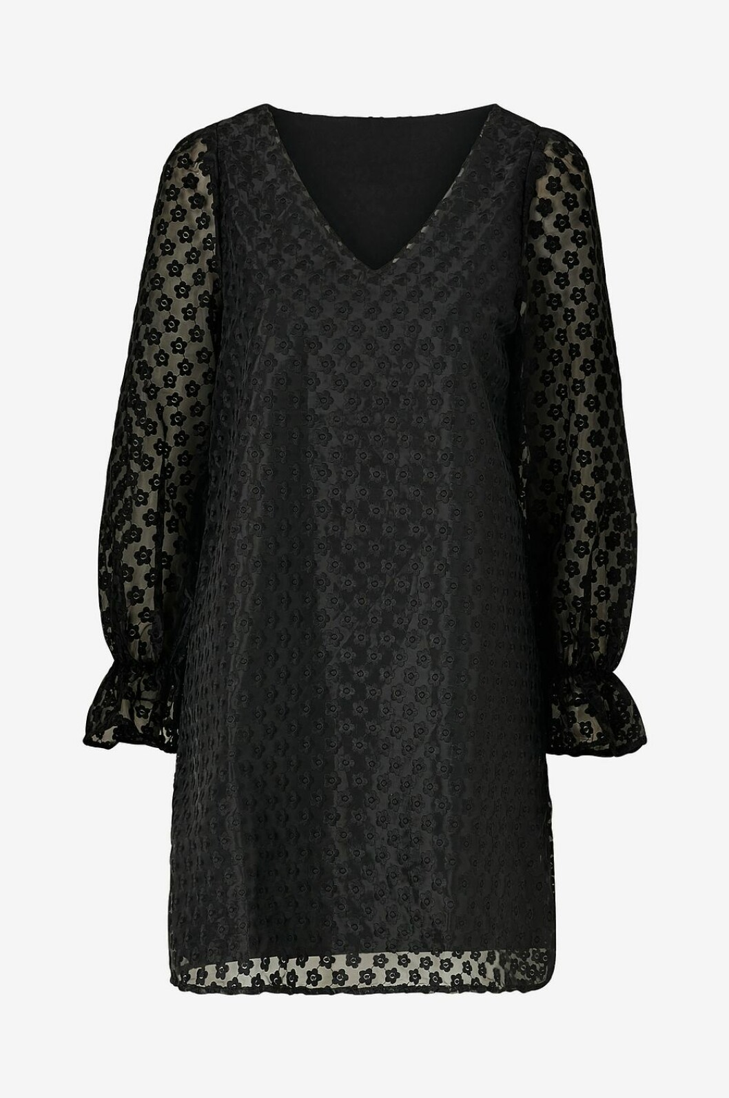 Svart långärmad klänning i transparent tyg