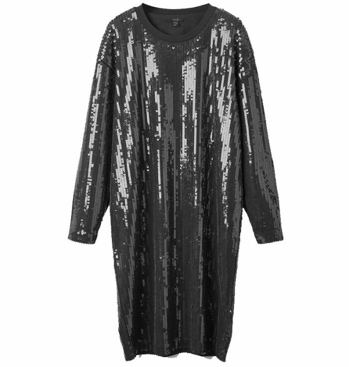 svart paljettklänning cos