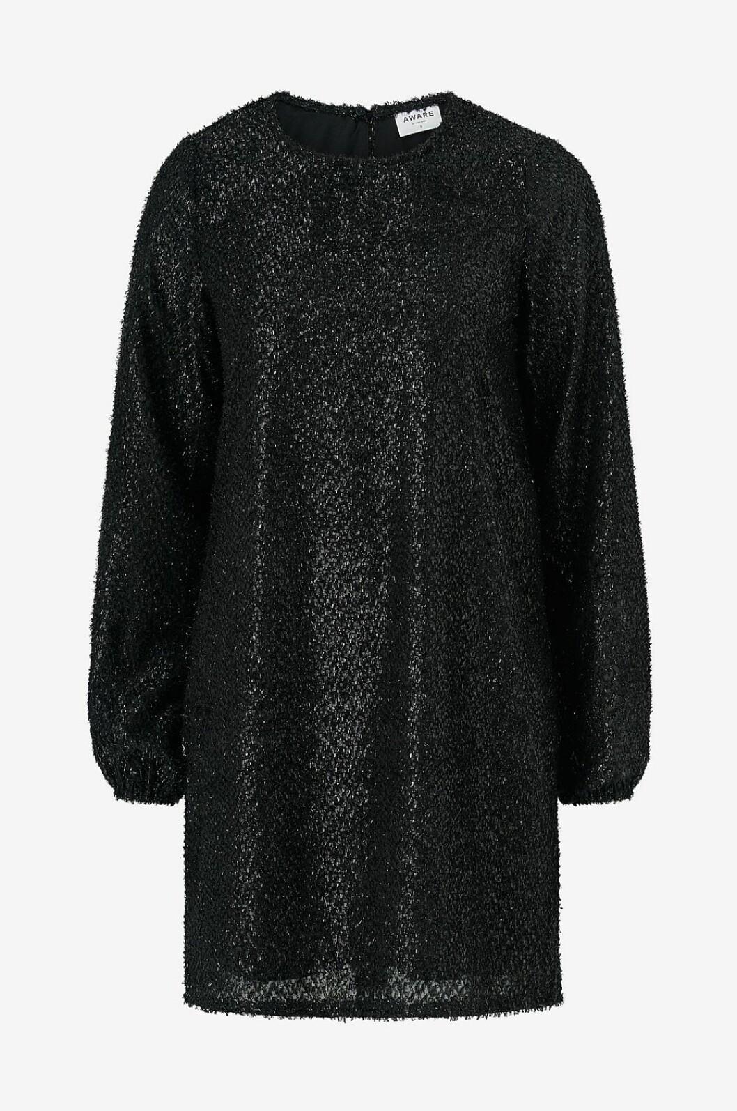 Svart paljettklänning med lång ärm för dam till nyår 2019