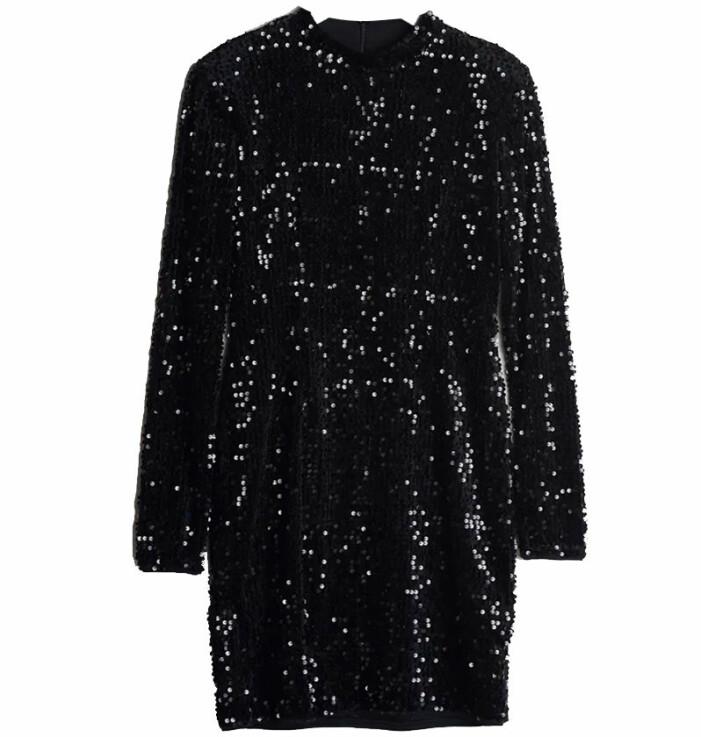 svart paljettklänning gina tricot