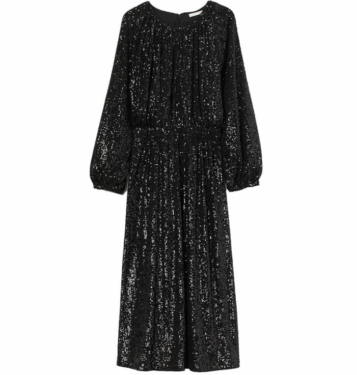svart paljettklänning hm