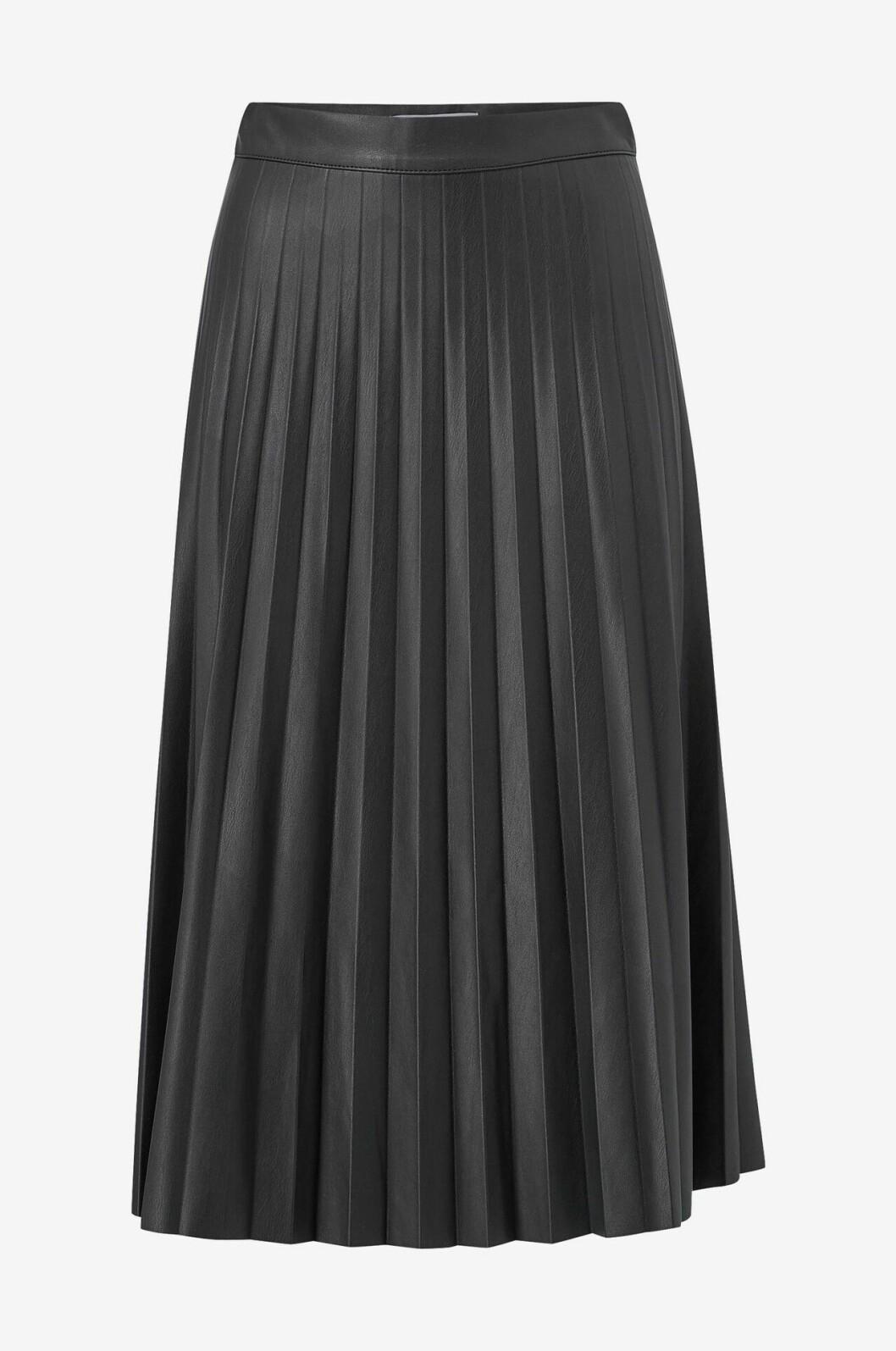 Svart plisserad kjol i skinn för dam till hösten 2019