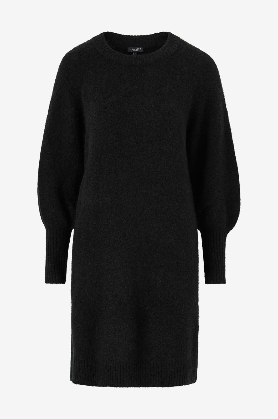 Svart stickad klänning med lång arm för dam till hösten 2019