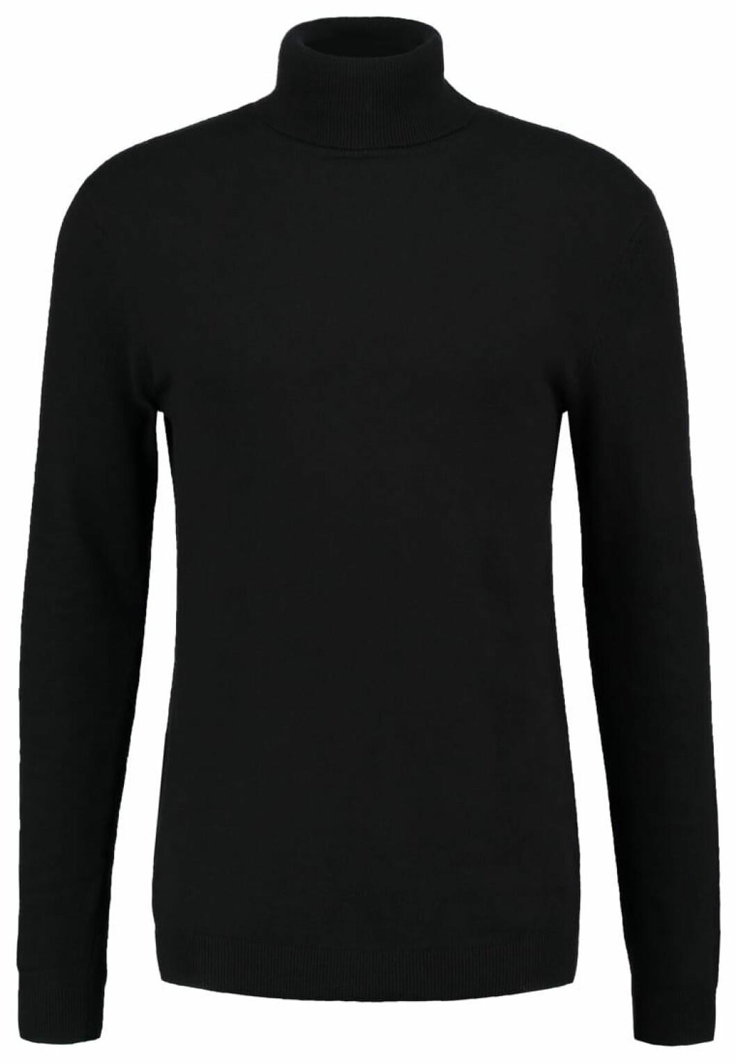 svart stickad polotroja man