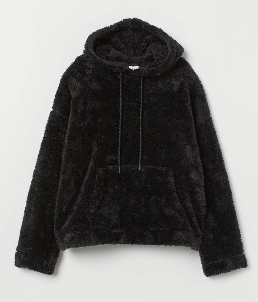 Svart teddytröja i hoodie-modell för dam 2019