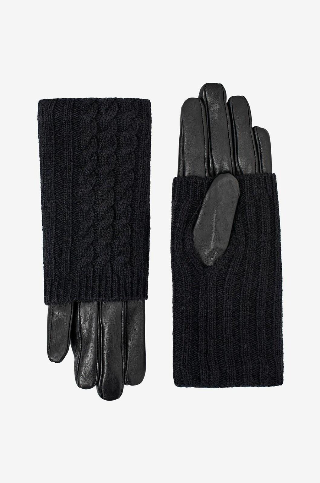 Svarta skinnhandskar med stickad mudd