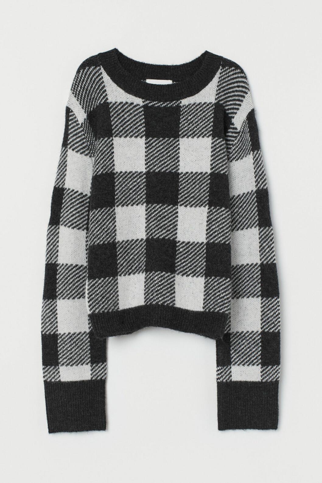 Rutig stickad tröja för dam till hösten 2019
