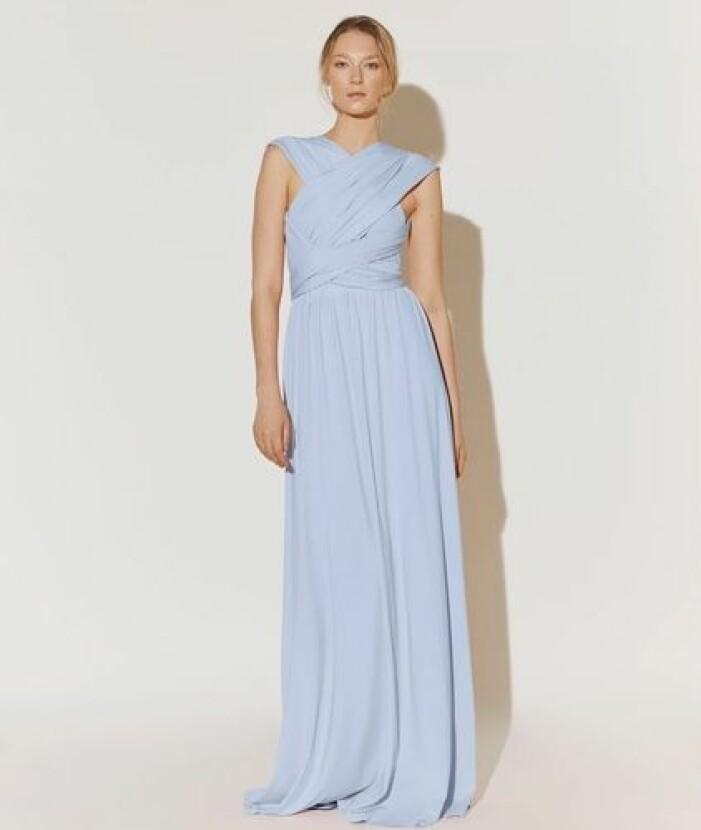 blå wrap maxi dress till brudtärna