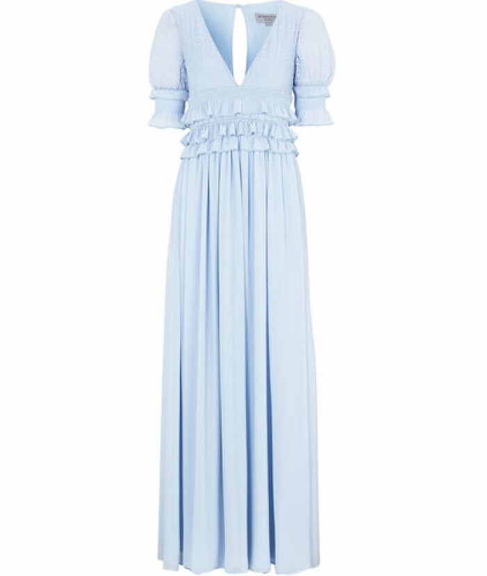 Ljusblå långklänning med volanger