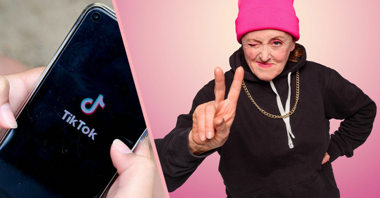 tiktok och en kvinna med rosa mössa och svart luvtröja som håller upp fingrarna i ett v-tecken
