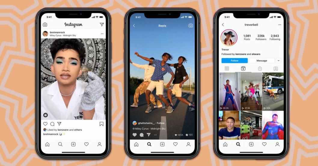 Exempel på nya funktionen Reels på Instagram
