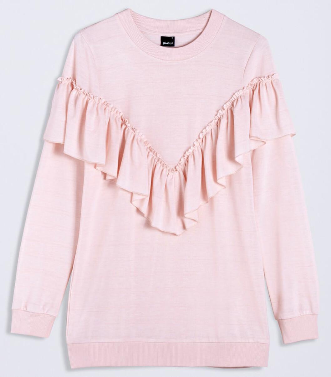 tröja volang rosa