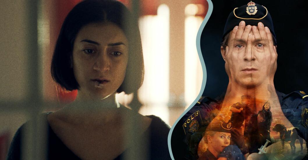 Leah (Gizem Erdogan) och Magnus (Oscar Töringe) i Tunna blå linjen avsnitt 9.