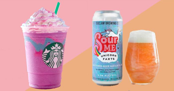 Unicorn-milkshake från Starbucks och unicorn-öl från Unicorn farts.