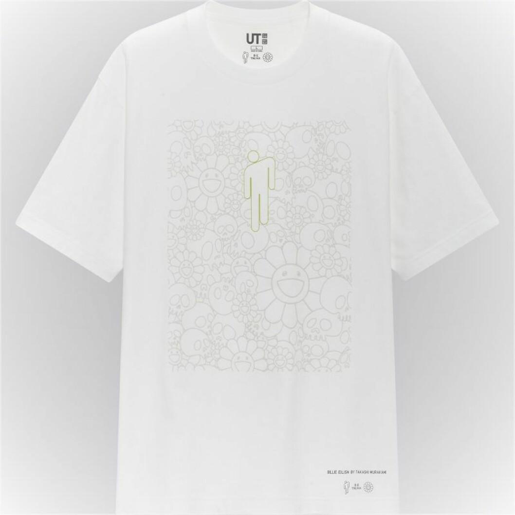Billie Eilish x Takashi Murakami för Uniqlo: Vit t-shirt med tryck för herr