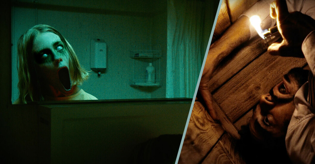 Läskig flicka i spegel och man inlåst i kista