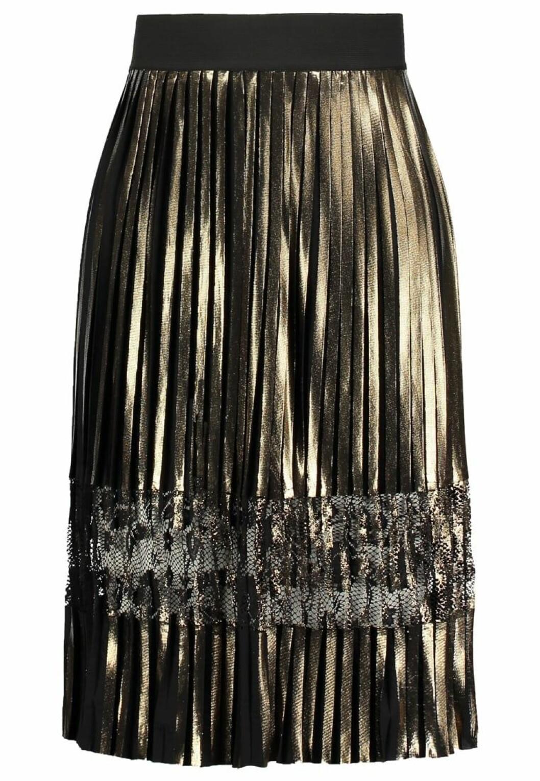 veckad kjol metallic