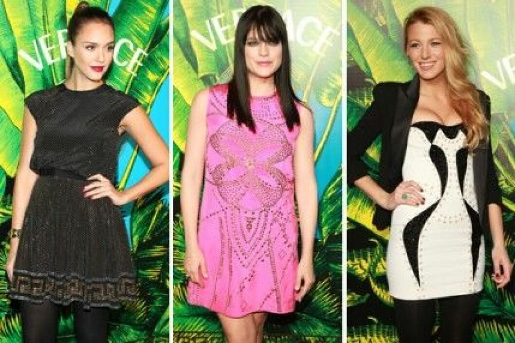 Jessica Alba, Selma Blair och Blake Lively på Versace for H&M fashion show.