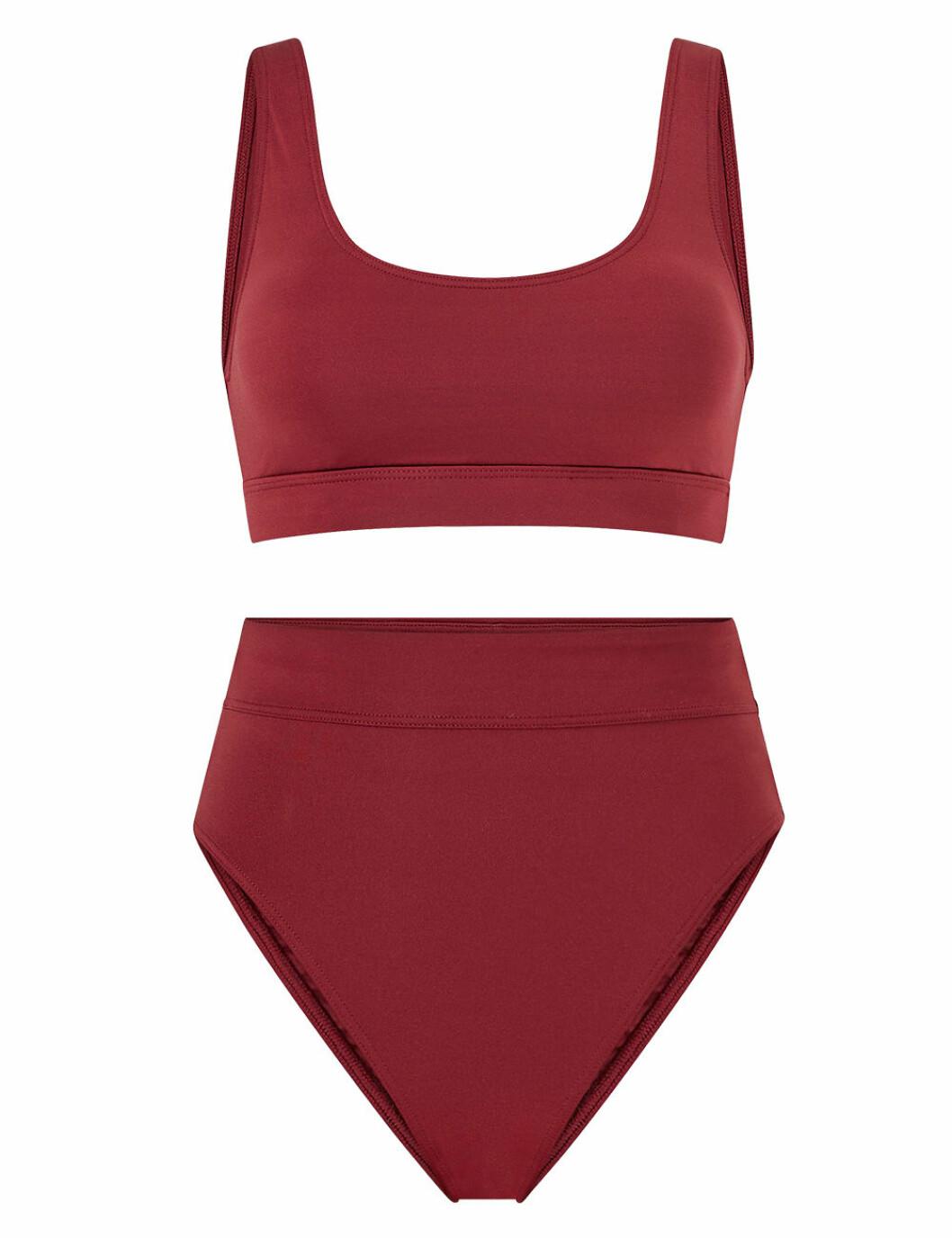 Skön, vinröd bikini med hög midja för dam till 2020