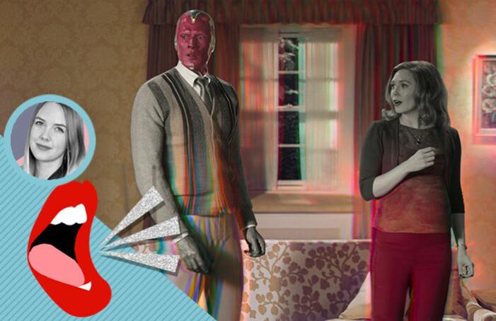 Vision och Wanda i Marvels nya serie WandaVision på Diney+.