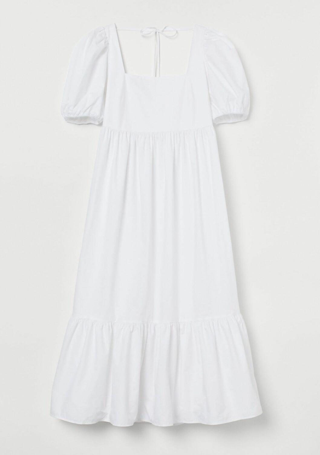 Vit klänning med puffärm för dam till 2020
