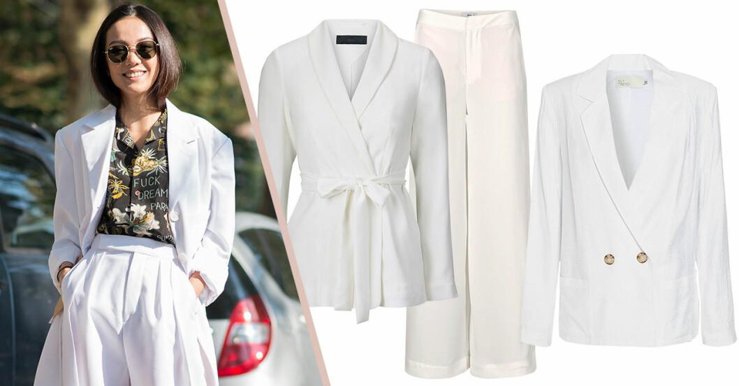 Vita kavajer och kostymer för dam till 2019