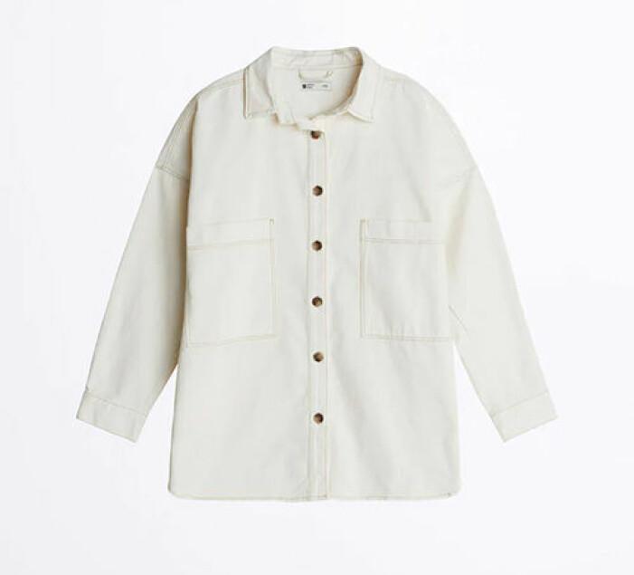 Vit oversized jeansskjorta från Gina Tricot