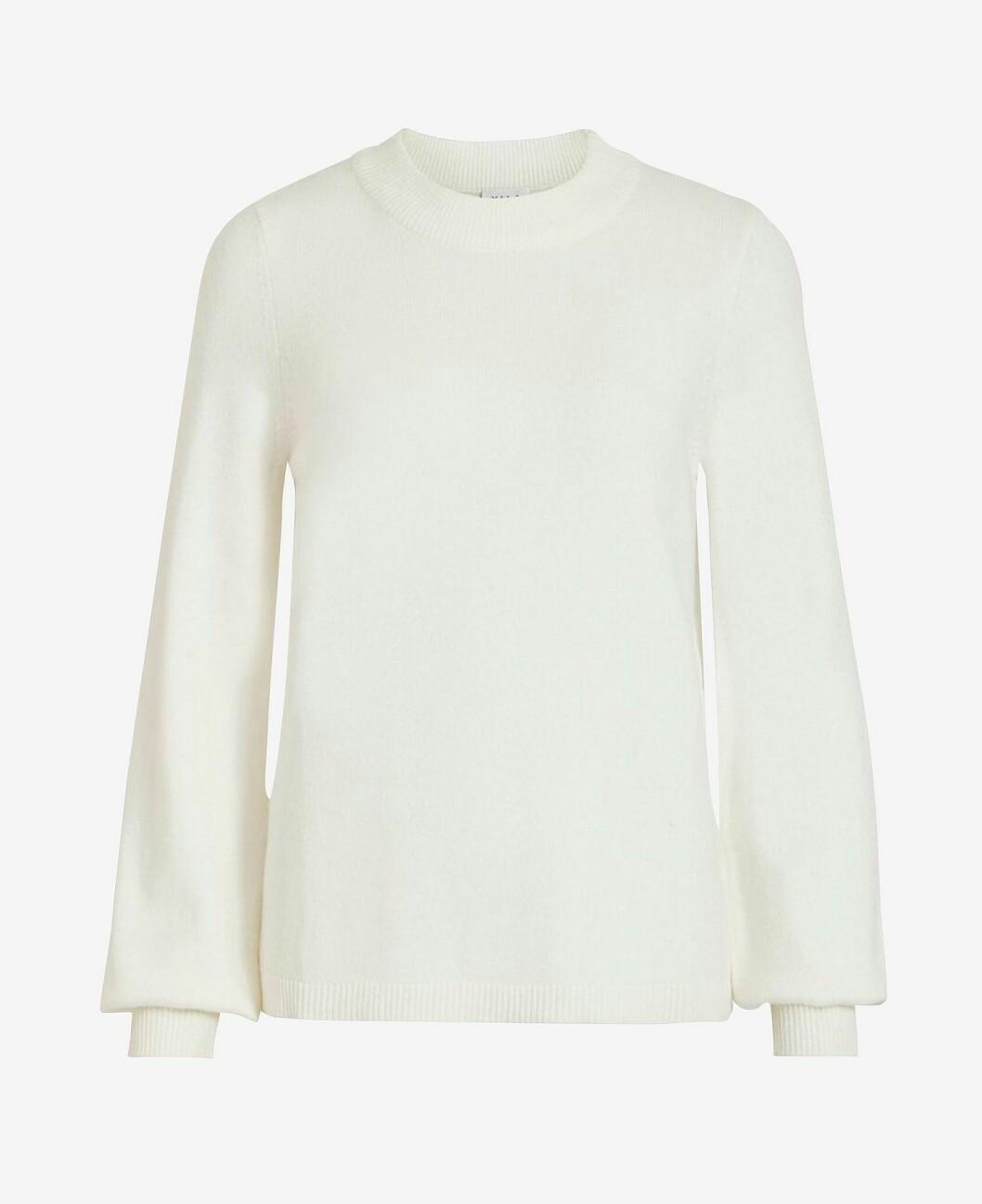 Vit stickad tröja med vid ärm för dam till 2020
