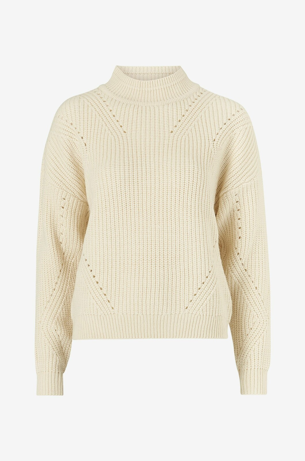 Vit mönsterstickad tröja för dam till hösten 2019