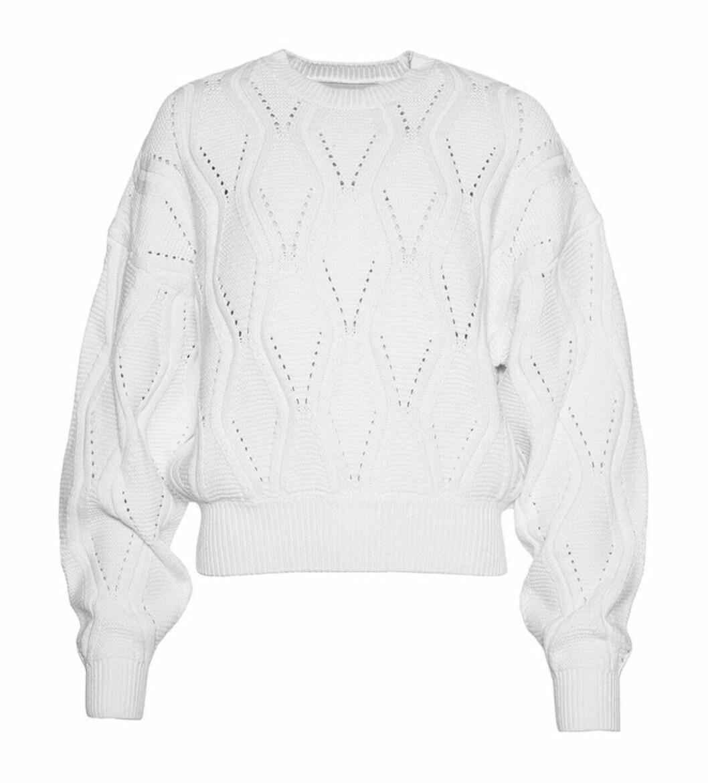 Vit stickad tröja för dam till 2019