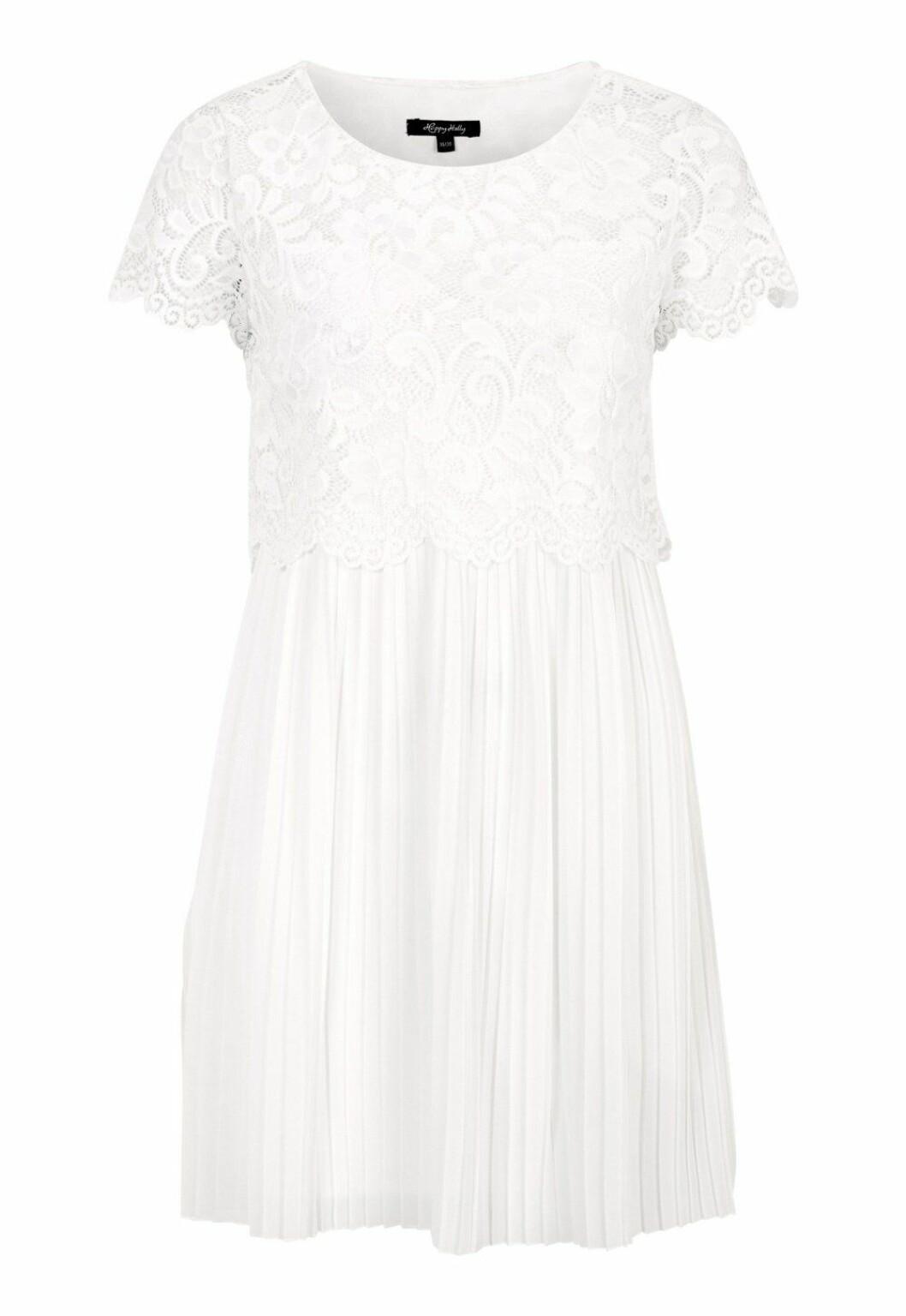 Vit spetsklänning med kort ärm till 2019