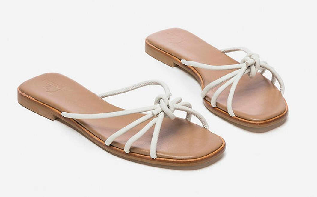 Vita sandaler med tunna remmar för dam till 2019