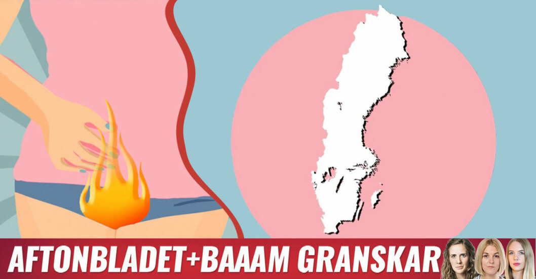 6 av 21 regioner saknar vulvamottagning visar Baaam och Aftonbladet.