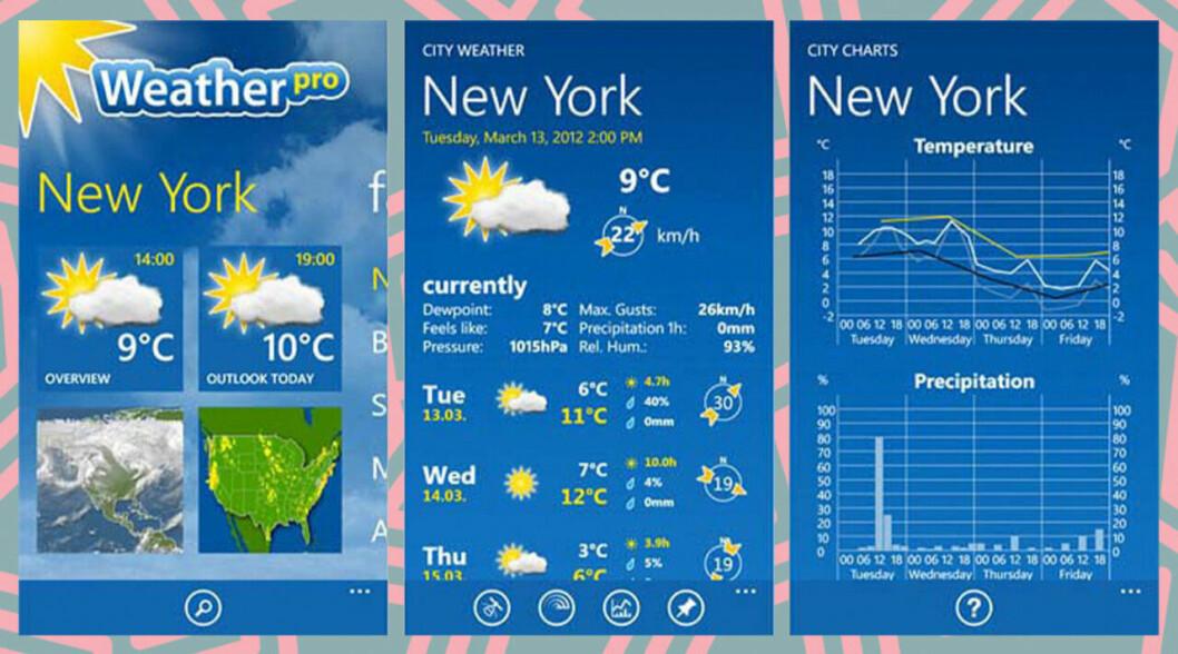 Wheaterpro är en app som ger vattentemperatur på ditt resmål.